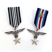 エンブレム刺繍 ミリタリーワッペン風 ピンバッジ2個セット 勲章 FM-031 勲章徽章風 イーグル ミリタリーバッジ 勲章バッジ