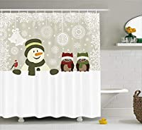 クリスマス&新年おめでとう シャワーカーテン バスカーテン Shower Curtain お風呂 90x180cm