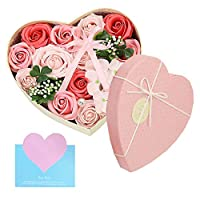 バラ型ソープフラワー 創意ハート型ギフトボックス 石鹸花束 誕生日 母の日 記念日 先生の日 バレンタインデー 昇進 転居など最適としてのプレゼント (ピンク-H)