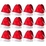クリスマスサンタハット 12個パック サンタハット 大人用 ノベルティ 不織布 父親 クリスマス 赤 サンタ お祝いや発表に クリスマスハット オーナメント用