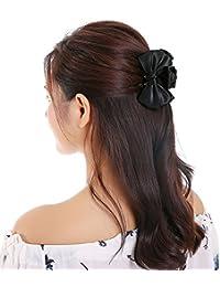 (Junkun) ヘアクリップ リボン 大 大きめ 黒 バンスクリップ シンプル レディース ヘアアクセサリー 人気 髪留め 髪飾り 結婚式 ブラック jk-16658