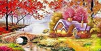 ししゅう糸 クロスステッチ刺繍キット 森林小屋風景D