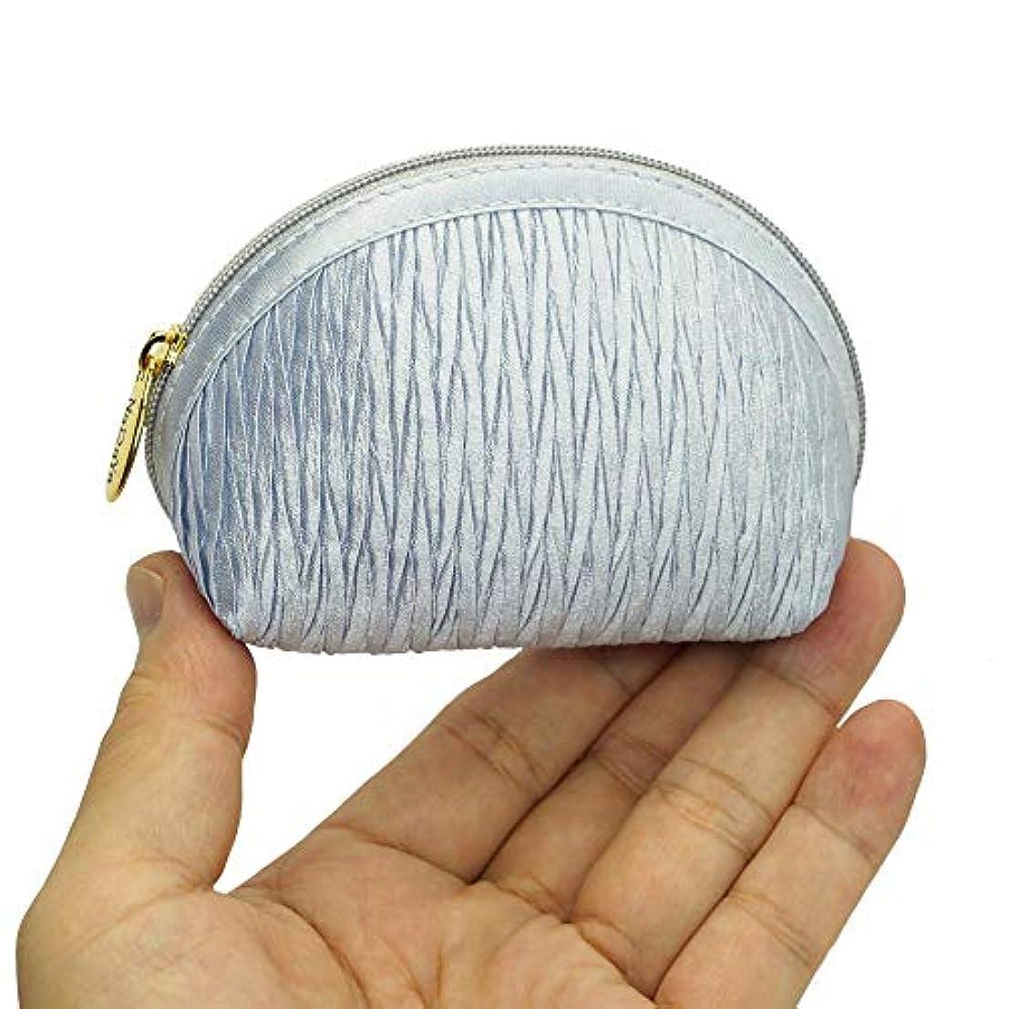 シンプトン性能錫ナラヤ NaRaYa 手のひらサイズ シェル型 コスメポーチ 化粧ポーチ ?プリーツ(プラチナ) NPL-37