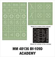Montexマキシマスク1 : 48 bf-109 D for Academy 2178 Spraying Stencil # mm48136