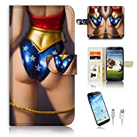 Samsung Galaxy S4 Flip Wallet Case Cover & Screen Protector & Charging Cable Bundle! A6308 Woder Woman
