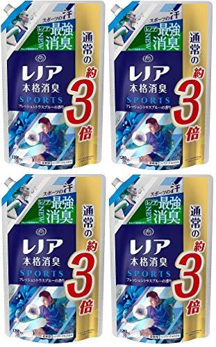【まとめ買い】レノア 本格消臭 柔軟剤 スポーツ フレッシュシトラスブルー 詰め替え 超特大 1260mL×4個
