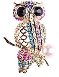 Ruikey  ファッション  ブローチ 水晶 デザイン パール キラキラ 可愛い おしゃれ アクセサリー ジュエリー フクロウ プレゼント