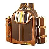 Honeystore ピクニックバッグ 保冷 クーラーバッグ 食器セット リュックサック ピクニック バッグ 4人用