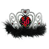 The Party Continuous 50th Birthday Party Flashing Tiara , Silver/black , 4 x 5