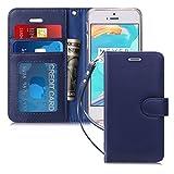iPhone5S ケース iPhone5 ケース iPhone SE ケース,Fyy [本羊革] ハンドメイド 横開き 手帳型 二つ折り カードホルダー ストラップ付き スタンド機能 マグネット開閉 保護カバー iPhone SE/5S/5 兼用 ネイビー