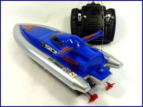 HT◇安全ストップ機能付スピードボート型ラジコン船「MARINE WARSHIPS」ブルー