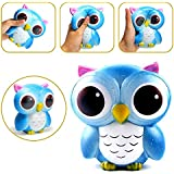 Anwish Blue Owl Squishies Slow Rising Soft Squishies Charms Fun Toys for Stress Relief and Time Killings Fun Toys for Stress Relief and Time Killing