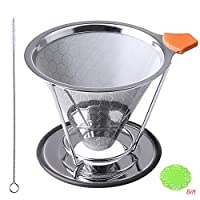 Pengxiaomei ステンレススチール製コーヒーフィルター 再利用可能 コーヒードリッパー 交換用永久コーヒーフィルター ステンレススチールブラシ付き ほとんどのカップに対応