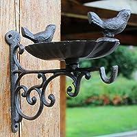 CJH 鋳鉄工芸鍛鉄フックダブルバードヨーロッパ庭ハンギングブルーフード鳥フードボウル装飾フック