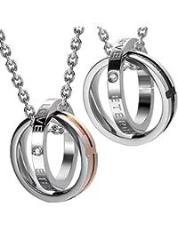 Urban Jewelry ユニーク 彼氏と彼女のカップル リング ペンダント ネックレス 「Endless Love」と「Eternal Love」の文字入り 48.26cmと53.34cmのチェーン