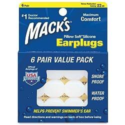 Macks Pillow Soft シリコン耳栓 6ペア NRR22 #7 透明