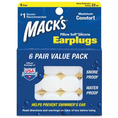 Macks Pillow Soft シリコン耳栓 6ペア NR...