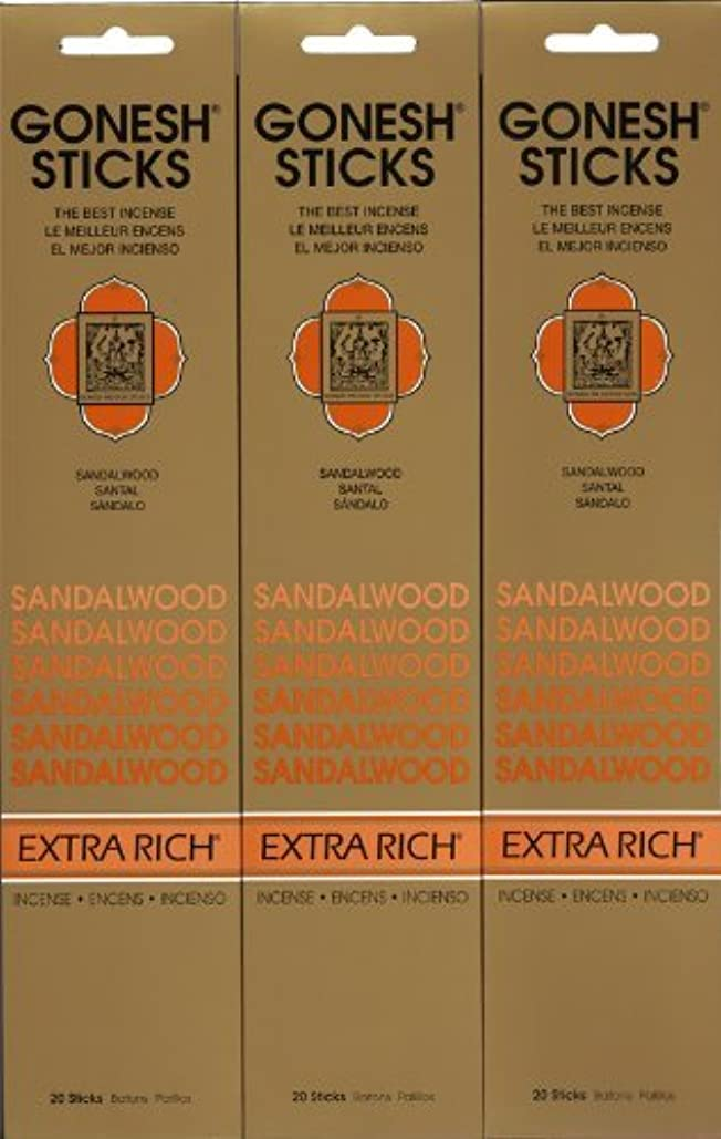 日曜日劣るGONESH SANDALWOOD サンダルウッド 20本入り X 3パック (60本)