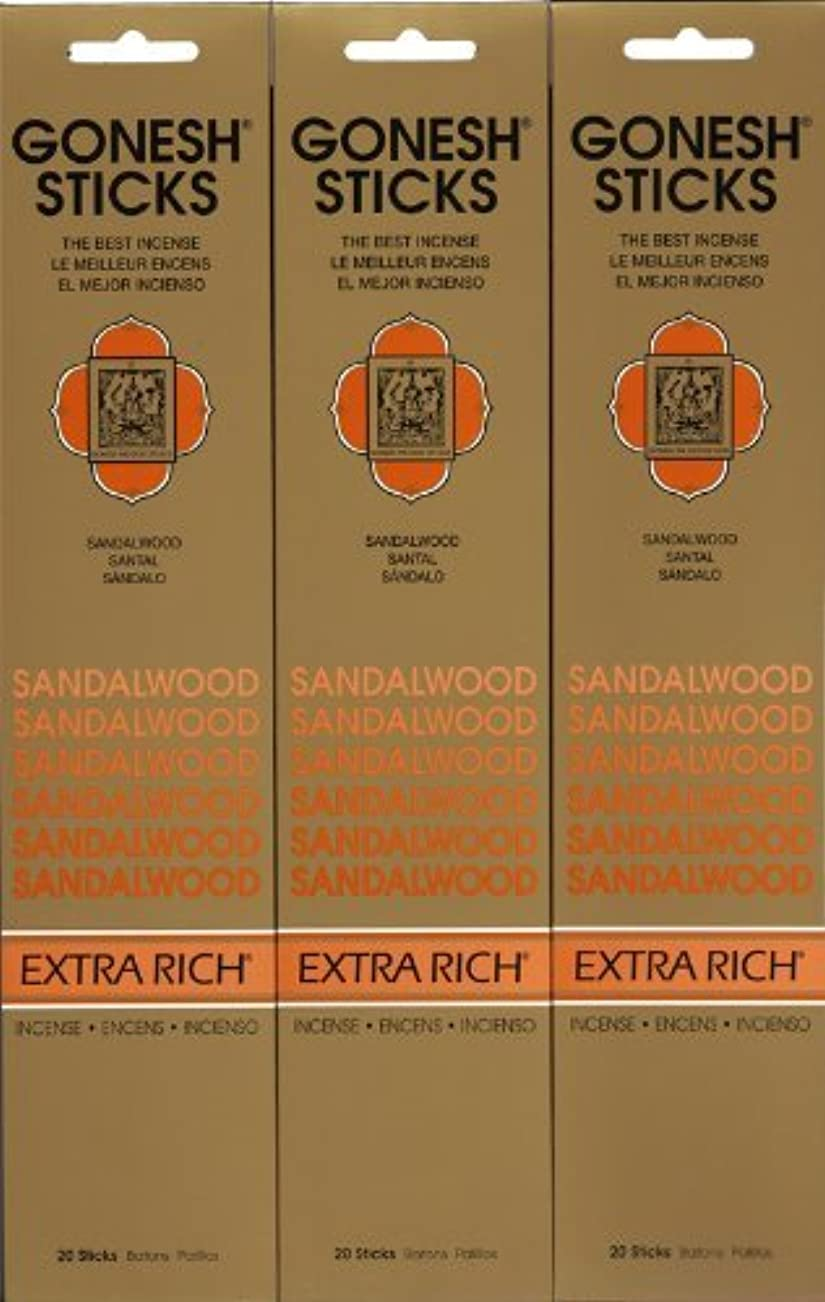 谷略す文言GONESH SANDALWOOD サンダルウッド 20本入り X 3パック (60本)