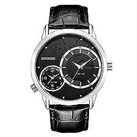 Male Watch、4色品質メンズメタル防水デュアルタイムゾーンクオーツMovement Watch with Toughメタルバンド