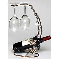 WG2 アンティーク調 葡萄 ワインラック ワイングラス ホルダー ワイン シャンパン ボトル スタンド インテリア レトロ (ブロンズ)