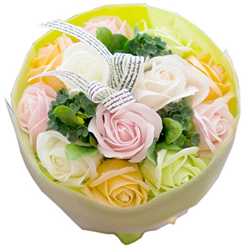 フレグランス ソープフラワー シャボンフラワー 花束 ローズブーケ FPP-809 (ペールミックス)