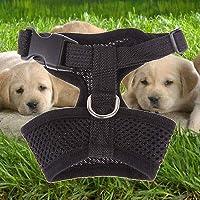 FidgetGear 犬の子犬猫のためのペットコントロールハーネスソフトウォークカラー安全ストラップメッシュベスト ブラック