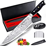 Chef Knife, MOSFiATA 8 inch Kitchen Knife, Premier High Carbon German 4116 Stainless Steel Knife, Full Tang Blade Chef's Knives with Finger Guard, Knife Sharpener, Blade Guard & Gift Box