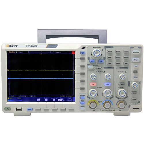 "OWON XDS3202E oscilloscope 200Mhz 1G 2chs 8 bits ADC 40M record length Decoding Kit 75,000 wfms/s 1ns/div 8 ""color LCD FFT USB"