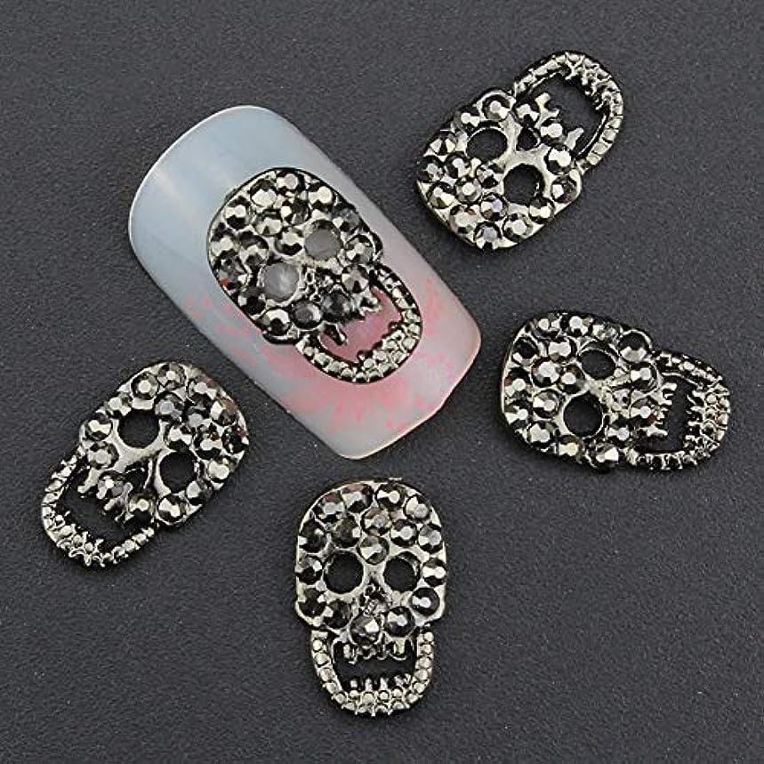 薄いです一貫した菊ネイルサロン用品の10PCブラックアロイ3Dネイルアートスカルの装飾付きラインストーン合金ネイルチャーム、ジュエリー
