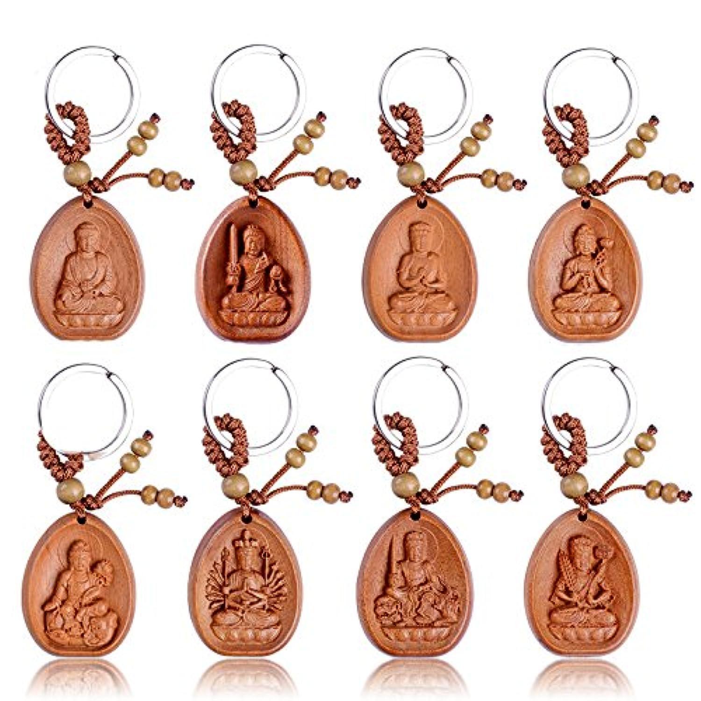 【木彫り仏像】 開運十二干支お守り本尊 ミニ 木彫り キーホルダー セット(8個セット)