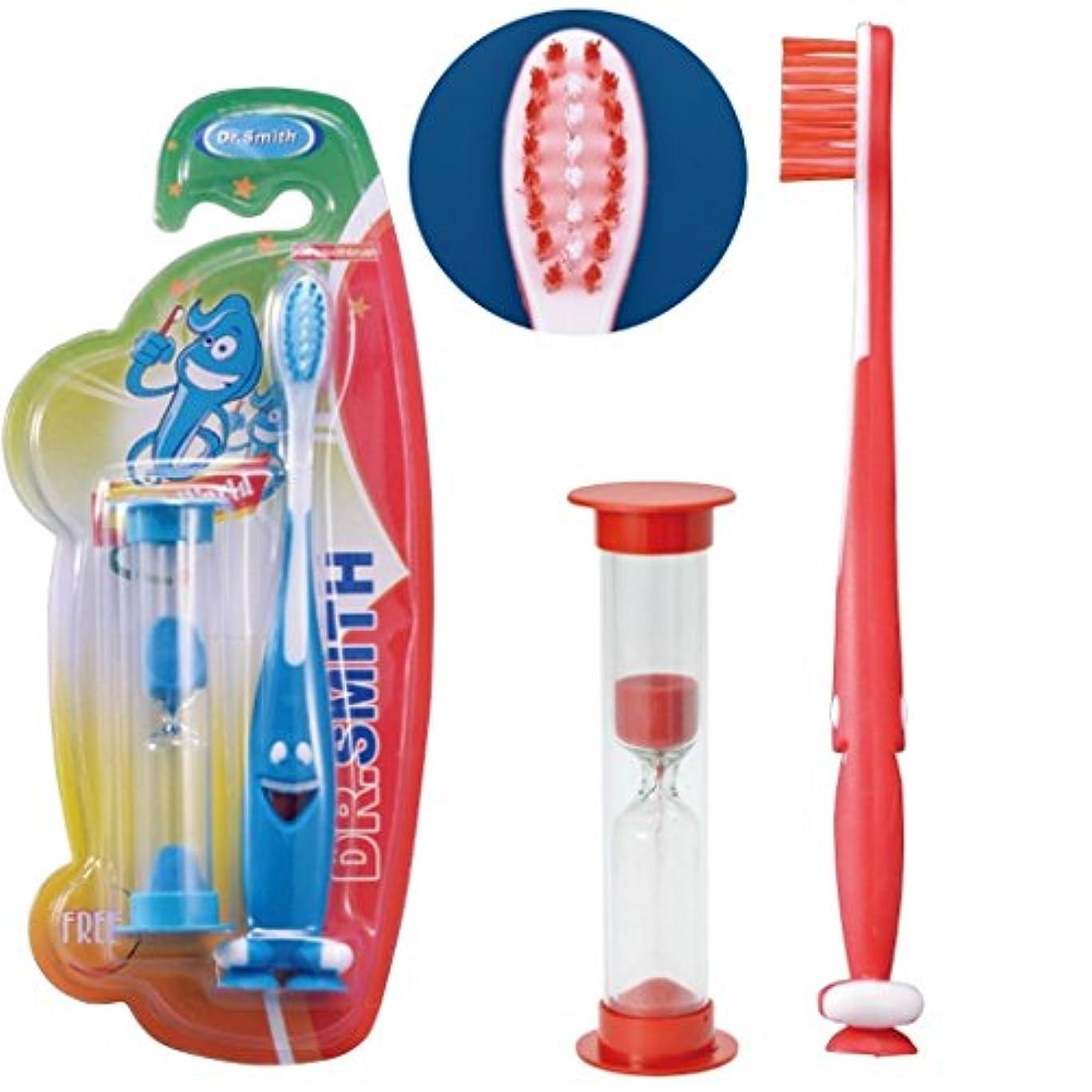 感染する感謝臭いキッズブラシ 3Minutes (吸盤付歯ブラシ+約2分砂時計) (レッド)