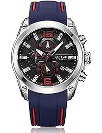 シリコン バンド 合金 ケース ウォッチ クロノグラフ 防水 カレンダー オート日付 ビジネス クオーツ 腕時計2063