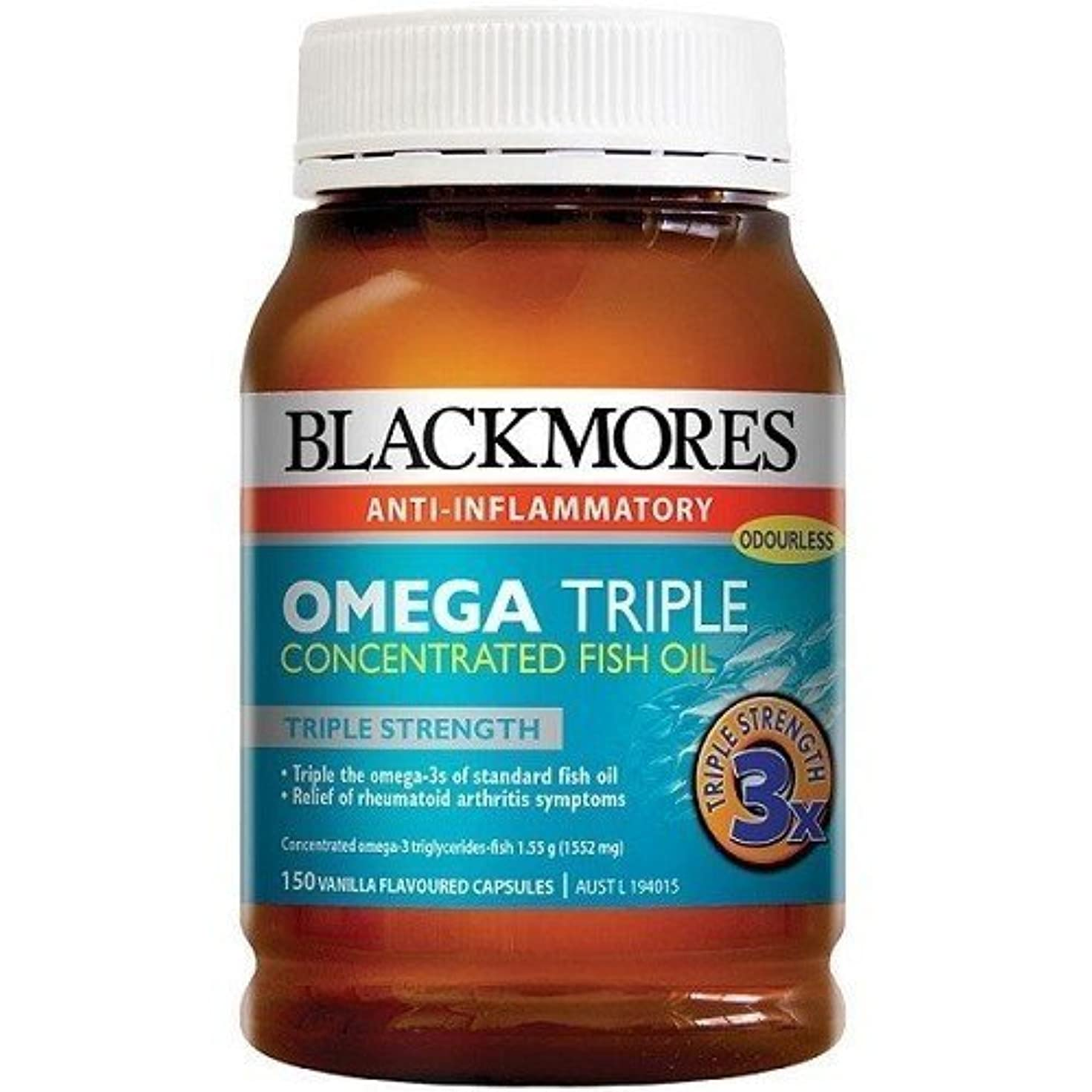 袋に対処するほこりっぽいBlackmores Omega Triple Concentrated Fish oil 150 cap by Blackmores LTD