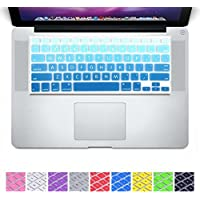 DHZ D6 Big Font Sky Blue Gradient Keyboard Cover Silicone Skin for MacBook Air 13 and MacBook Pro 13 15 17 (Not Fit 2016 Macbook Pro 13 15 with/without Touch Bar) US Layout [並行輸入品]