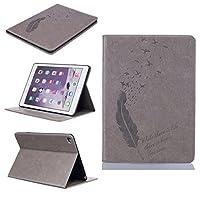 UNEXTATI iPad Air 2 iPad 6 ケース 高品質 PUレザー 手帳型ケース 保護カバー カード収納 液晶保護 防塵 Apple iPad Air 2 iPad 6 用 Case Cover (グレー)