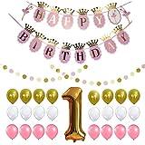 BESTOYARD ハッピーバースデーデコレーション誕生日パーティー用品バルーンバングバナーガーランドセット