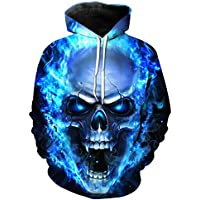OVERMAL Hoodies Unisex Plus Size Autumn Winter 3D Printed Skull Pullover Long Sleeve Hooded Sweatshirt Tops Blouse