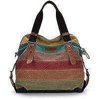Ehobroc™ Womens Handbags Retro Canvas Color Block Casual Shopper Bag Ladies Handbag Tote Shoulder Handbags Striped Crossbody Bags for Women