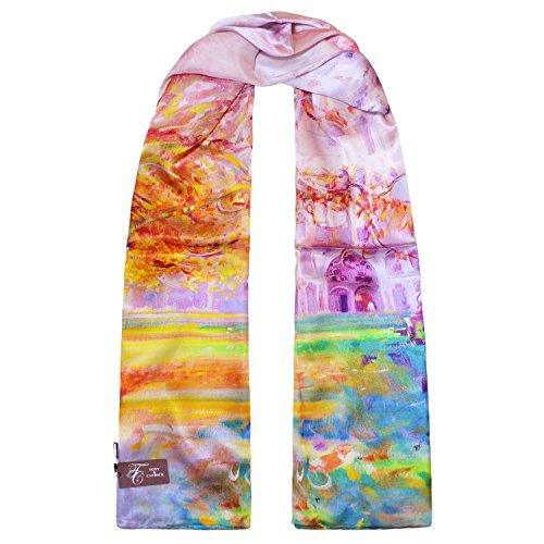 (トニー&カンディス) TONY & CANDICE 女性用シルク100%の油絵のプリントのロングスカーフ 175cm×52cm (秋のカテドラル)