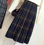 (ベコ) Beco レディース スカート ロング丈 チェック柄 プリーツ ウール 紺 グレー (M, 紺)