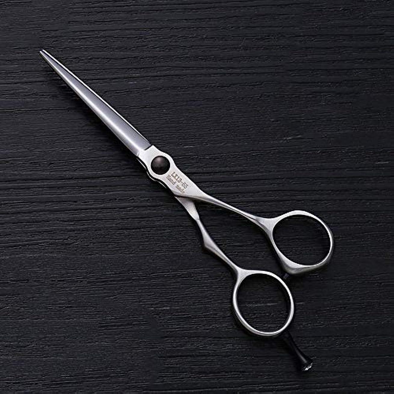 ポット女の子マージ5.5インチの理髪はさみのステンレス鋼の平らなせん断 ヘアケア (色 : Silver)