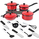 OUYAWEI 13 Sets Pots and Pans Kitchen Cookware For Children Play House Toys, Simulation Kitchen Utensils