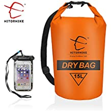 HITORHIKE 15L 25LWaterproof Dry Bag- Roll Top Dry Compression Sack Keeps Gear Dry for Kayaking, Beach, Rafting, Boating, Hiking, Camping and Fishing with Waterproof Phone Case
