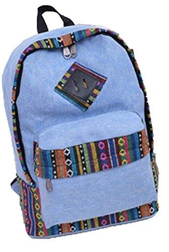 (シャンディニー) Chandeny エスニック 柄 リュック デニム 地 民族 風 レインボー カラー 大 容量 個性的 通学 ブルー
