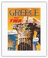 ギリシャ - TWA (トランス・ワールド航空)で飛ぶ - コリント式スタイルギリシャコラム - ビンテージな航空会社のポスター によって作成された デイヴィッド・クライン c.1959 - キャンバスアート - 28cm x 36cm キャンバスアート(ロール)