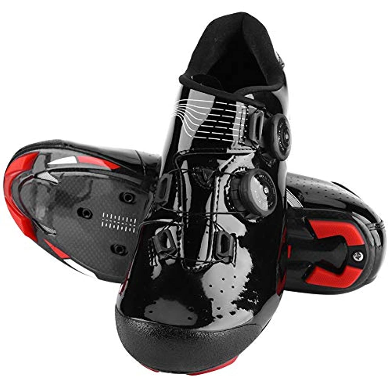 タバコ精算止まるサイクリングシューズ バイクシューズ メンズカーボンファイバーシューズ 信頼性 安定性 頑丈 反射縞付き 通気性 快適性 耐衝撃 ブラック