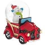 Joyful Snowman Riding aクリスマス車ミニチュアSnow Globe