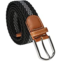 Lux Guy Black with Gray Stripe Elastic Braided Woven Belt Faux Leather - Unisex