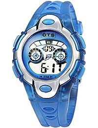 子供腕時計 キッズ腕時計 防水防塵 デジタル 曜日 日付 アラーム付き 七彩LEDバックライト 7-15歳 プレゼント最適 スカイブルー